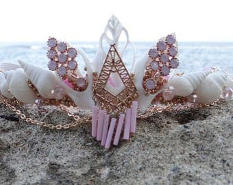 Mermaid Crown Pink Mystic Princess - Pink Mystic Princess Crown - mermaid crown - seashell crown - shell tiara