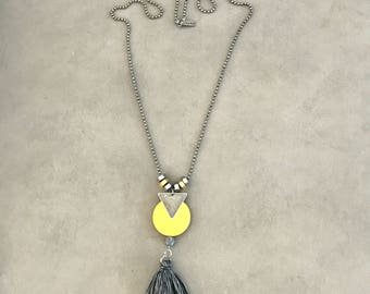 Yellow circle gray tassel necklace, silver yellow pendant necklace, yellow disc necklace.