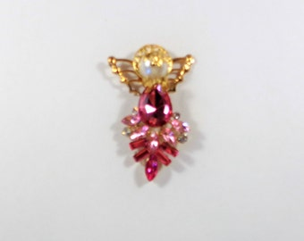 Pink Crystal and Gold Angel Pin