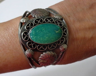 Older Handmade Navajo Sterling Silver and Turquoise Cuff Bracelet