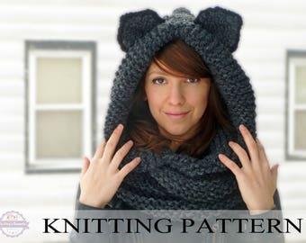 KNITTING PATTERN Hooded Cat Cowl, Cat Ears Hooded Infinity Scarf Knitting Pattern, Knit Hooded Animal Scarf Pattern Cat Beanie Hat Pattern