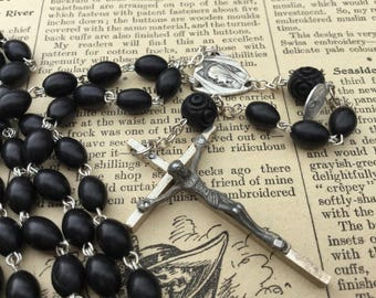 Vintage French Rosary from Lourdes . Black Beaded Rosary . Religious Medal . Crucifix Cross .