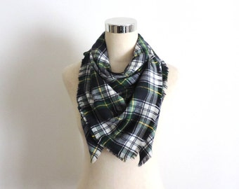 Plaid Flannel Scarf Large Square Flannel Scarf Green Navy