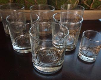 Vintage, Set of Six Seasons Greetings Low Ball Glasses with Shot Glass