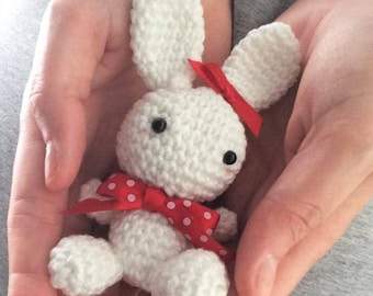 Red Ribbon Rabbit Amigurumi Crochet (finished product)