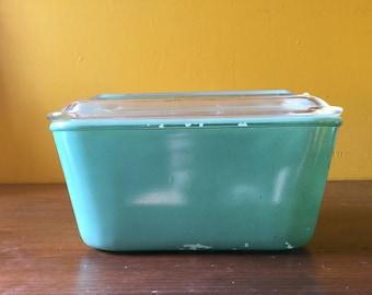 Vintage Glass Bake Refrigerator Dish Turquoise