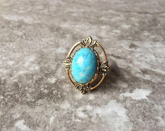 Gold Turquoise Goddess Ring - Raw Stone Jewelry