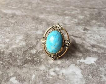 Gold Turquoise Goddess Ring - Raw Stone Jewelry