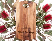 Personalised Chopping Board Laser Engraved Acacia Wood Cheese Board Engagement Wedding Christmas Present for the Kitchen | Rosie Tea Studio