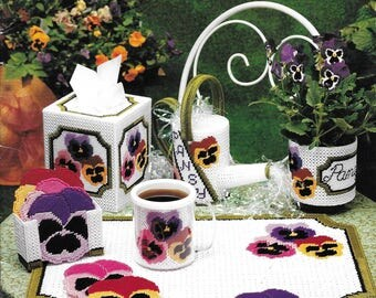 "Vintage American School of Needlework ""Pretty Pansies"" Plastic Canvas Pattern Book Number 3152 Dated 1994"
