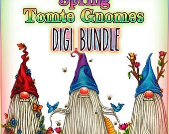 Spring Tomte Nisse Gnome Digi Bundle UNCOLORED Digital Stamp Image Adult Coloring Page jpeg png jpg Craft Cardmaking Papercrafting DIY