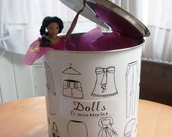 Storage tin for Fashion/barbie Dolls and accessories