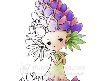 Digital Stamp - Instant Download - Lupine Sprite - Aurora Wings - Fantasy Flower Fairy Image for Cards and Coloring by Mitzi Sato-Wiuff
