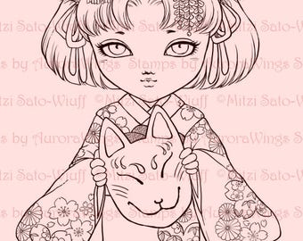 Digital Stamp - Little Kitsune Anko Fancy Version - Japanese Fox Girl in Kimono - Fantasy Line Art for Cards & Crafts by Mitzi Sato-Wiuff