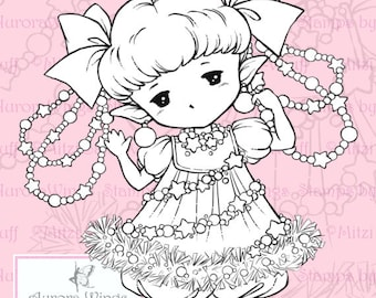 PNG Digital Stamp - Garland Sprite - Whimsical Holiday Image - Fantasy Line Art for Cards & Crafts by Mitzi Sato-Wiuff