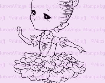 Sugar Plum Sprite - Aurora Wings Digital Stamp - Christmas Holiday Fairy Image - Fantasy Line Art for Arts and Crafts by Mitzi Sato-Wiuff