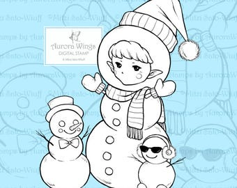 PNG Digital Stamp - Snowman Sprite - Whimsical Holiday Image - Fantasy Line Art for Cards & Crafts by Mitzi Sato-Wiuff