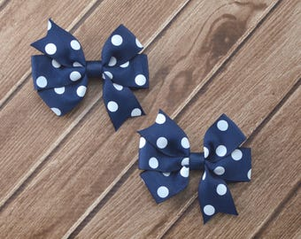 Navy Blue Hair Bows, Blue and White Bows, Uniform Hair Bows, School Hair Bows, Navy Polka Dot Bows, Polka Dot Pigtail Bows, Toddler Pigtails