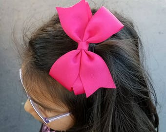 Hot Pink Hair Bow, Solid Pink Bow, Pink Bow Headband, Shocking Pink Hair Bow, Hot Pink Headband, Hot Pink Bow Headband, Shocking Pink Bow