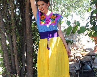 Long Mexican Skirts/ Faldas in different Colors (20.00each) 100% Cotton- Gauze- BOHO- Yoga- Hand Dyed