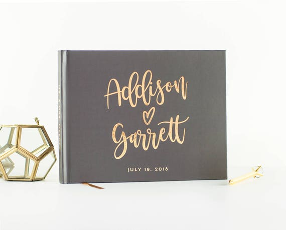 Gold Foil Wedding Guest Book landscape guestbook horizontal wedding guest book hardcover wedding book Personalized names photo guest book