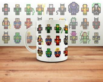 DC Comics Mug Pixel Art, Geek Present, Superman, Batman, Wonder Woman, Aquaman Gift, Christmas Present