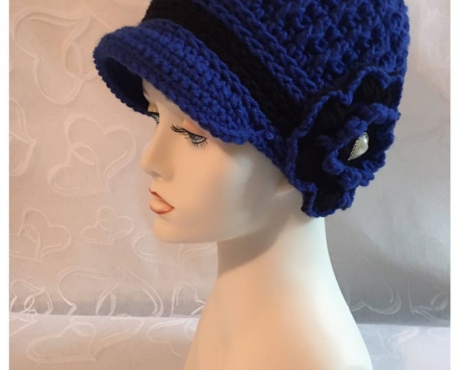 Crocheted Newsboy Hat-Valentines Heart-Flapper Cap-1920's Style-Women Accessories -Crocheted Flower-Blue Hat