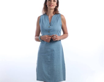 womens casual summer dresses - midi dress - casual summer dress - Light Blue denim dress