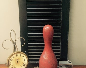 Antique Red Wood Bowling Pin Awesome Chippy Time Worn Patina Midcentury Bowling Pin  I Ship Internationally