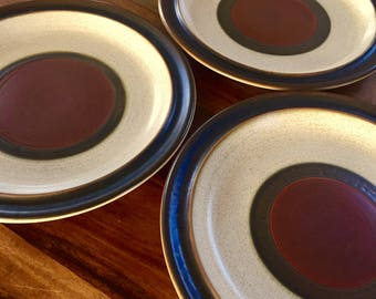"Vintage Denby Langley Potters Wheel Rust Red 10"" Dinner Plate Set of 3"