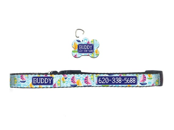 Preppy Dog Collar Nautical Lilly Inspired Personalized Dog Collar Dog Tag Pet ID Tag Combination Custom Gifts for Pet Lovers Pet Accessories