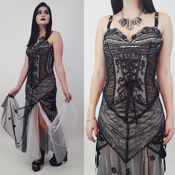 Vintage Black Silver Maxi Prom Dress - Sleeveless Sparkle Sheer Goth Bondage Tank Dress Small - Womens Vtg Sexy Goth Vampire Lace Dress