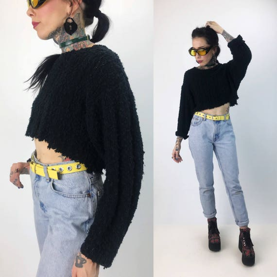 80's Black Cropped Knit Sweater Small - Vintage Black Textured Punk Grunge Unraveling Crop Top - Long Sleeve Slouchy Cropped Sweater Acrylic
