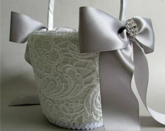 """Custom Ivory Lace Flower Girl Basket, Satin Bows in Choice of Color, Rhinestone Crystals, Crochet Lace Basket, """"Elegance"""""""
