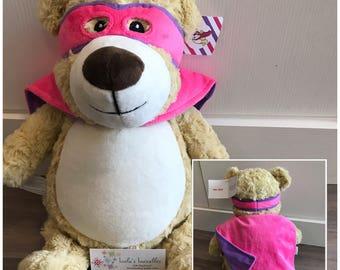 Cubbies Pink Hero Bear with cape, girls CHD, heart warrior, premie gift