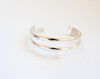 Double Cuff- Recycled Sterling Silver Simple Cuff