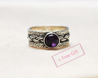 Gift For New Mom, Due in February, February birthstone ring, Meaningful ring, Sterling Silver and Amethyst ring, New beginning ring
