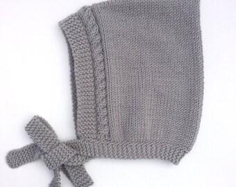 Grey Pixie Bonnet, Hand Knit Hat, Grey Hat, Sizes Newborn to Age 2 years, Pixie Elf Hat, Baby Bonnet, Children's Accessories, Baby Gift