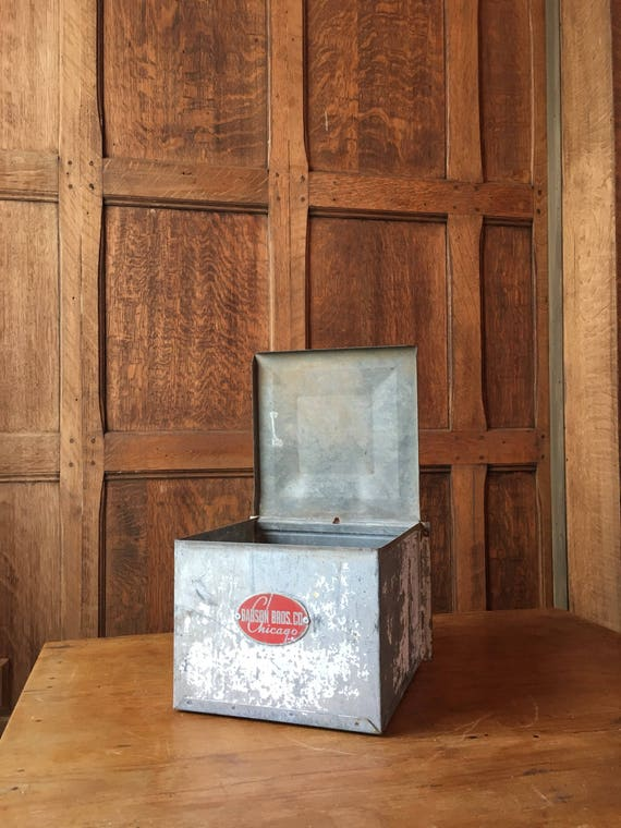 Wall Mount Metal Box With Lid, Babson Bros. Chicago, Vintage Metal Dairy Milk Box, Decorative Storage