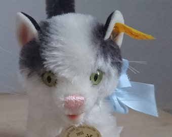 Rare vintage 1952 Steif grey and white cat