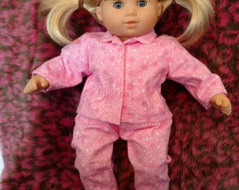 Pink star Pajamas and slippers fits Bitty Baby or Twins American Girl Doll girl sleepwear pj's