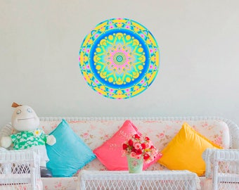 Mandala Wall Decals Full Color Murals Pattern Colorful Vinyl Decal Stickers Home Decor aa530