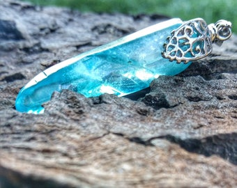 Pendant aqua aura, silver plated bail 925 - high vibration stone