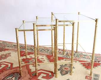 Gold Bamboo Nesting Tables Set of Three End Tables Side Tables Hollywood Regency Boho Home Decor