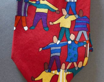 """Vintage Save the Children Silk Necktie/ """"Today's Children Are the Framework of Tomorrow""""/ Tracy Age 9"""
