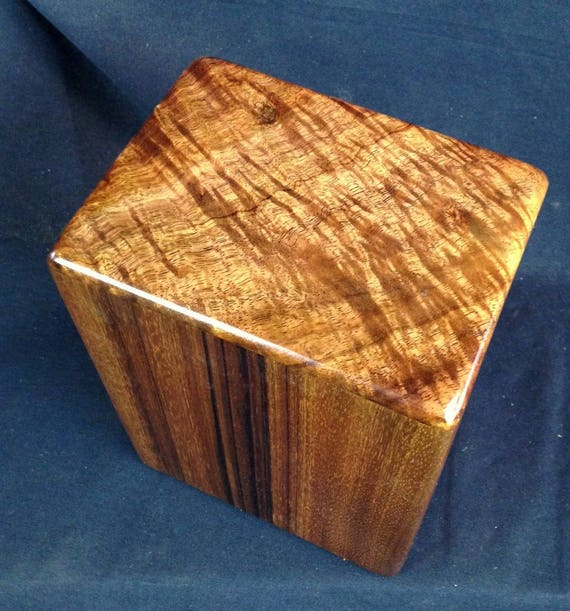 """Large Curly Hawaiian Koa Memorial Cremation Urn... 7""""wide x 5""""deep x 9""""high Wood Adult Cremation Urn Handmade in Hawaii LK091417-C"""
