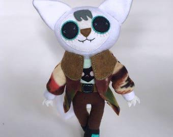 Winter Arctic Fox Plush Stuffed Animal with Removable Western Coat - OOAK - Collectible Art Doll - Designer Toy - Fiber Art