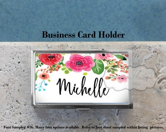Personalized Business Card Holder,Credit Card Holder,Gift for All,Custom Business Card Case,Metal, Floral Watercolor, MB424