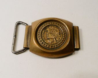 Vintage Metal Belt Buckle With A Profile Of Victoria