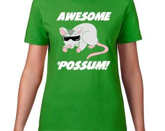 Awesome Possum TShirt, Opossum Tshirt, Animal Sunglasses, Possum T Shirt, Funny T Shirt, Ringspun Cotton, Funny TShirt, Opossum T Shirt